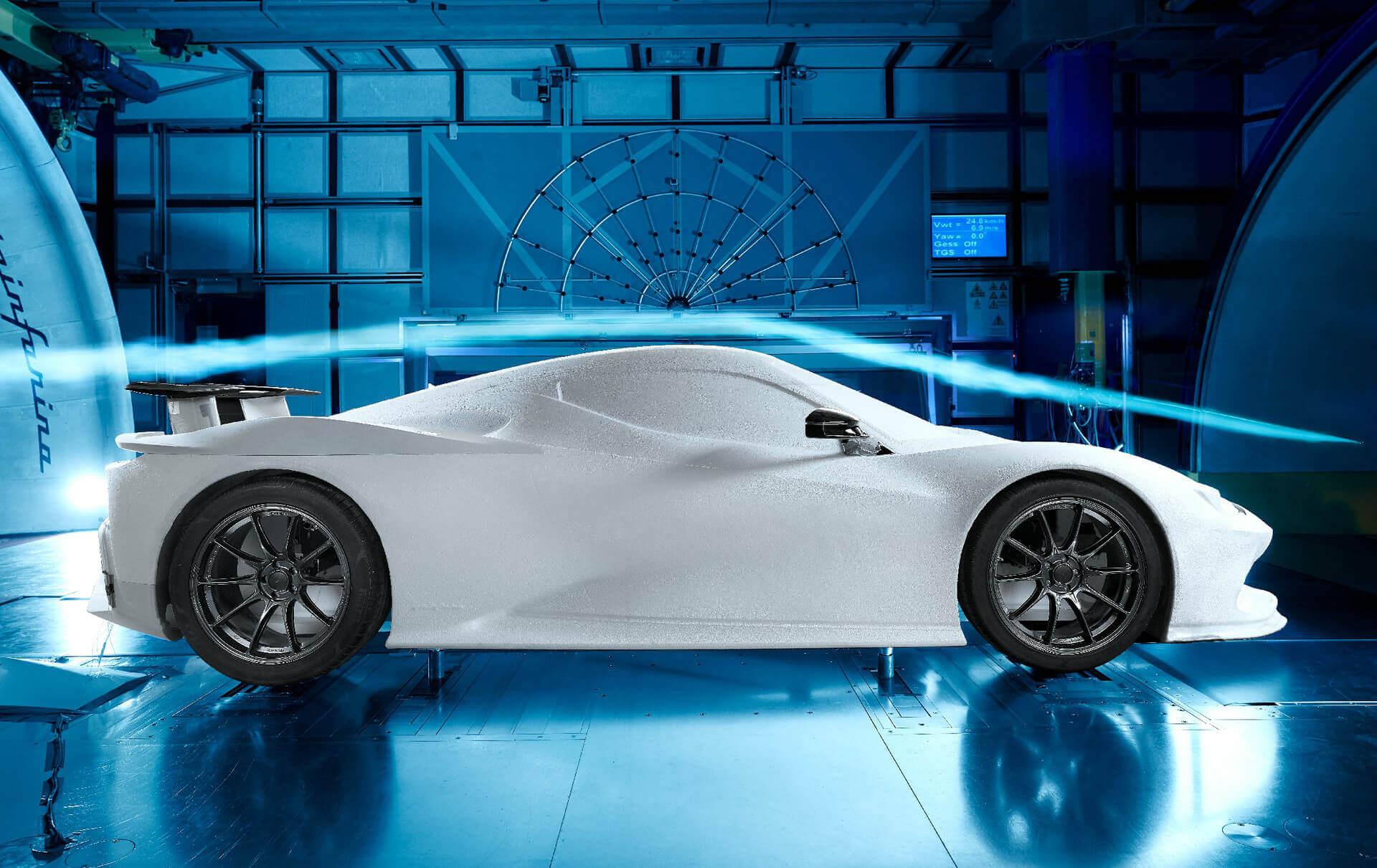 Тестирование электромобиля Pininfarina Battista в аэродинамической трубе