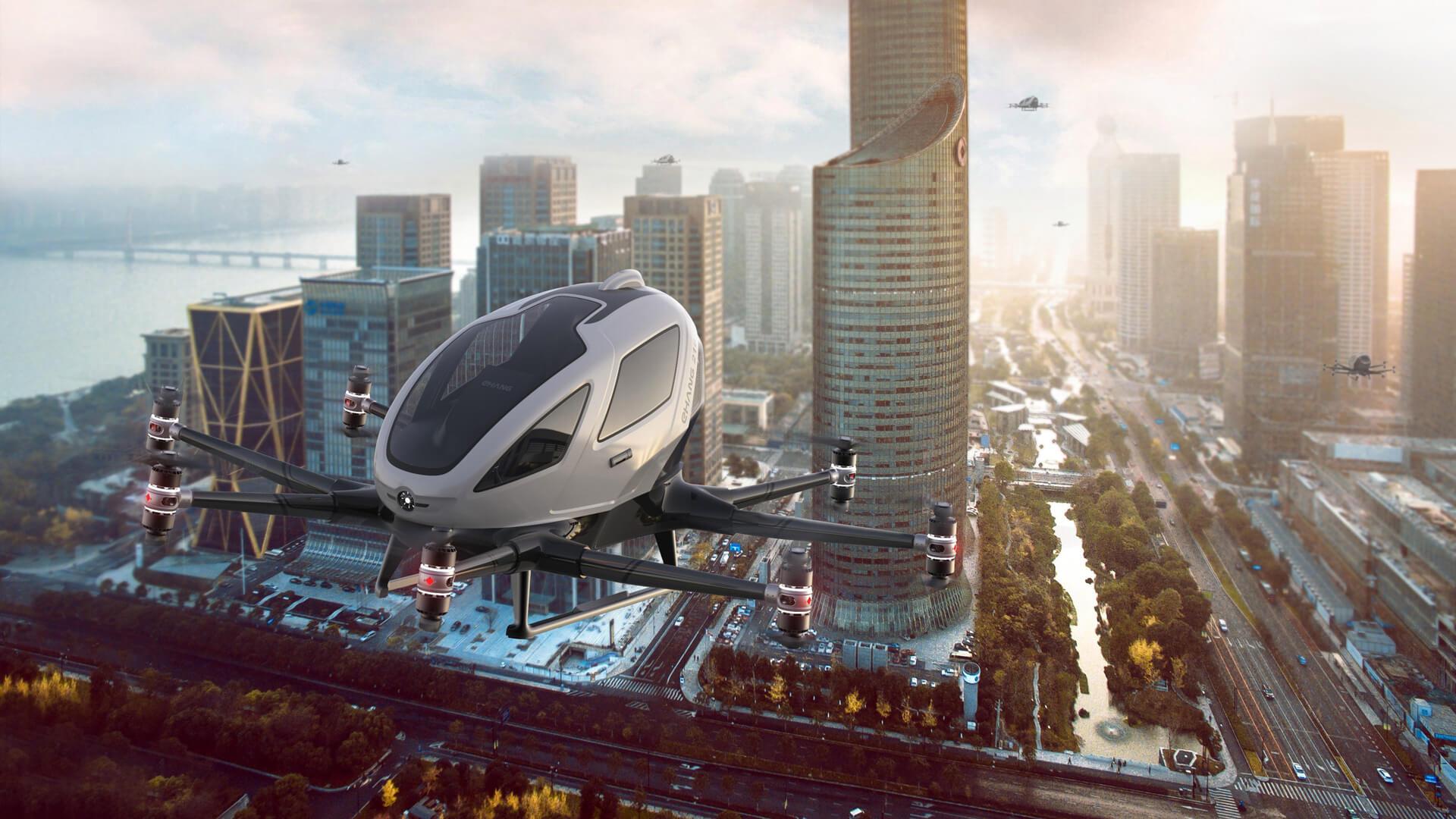 Пассажирский автономный дрон Ehang 216 испытают в Норвегии и Испании