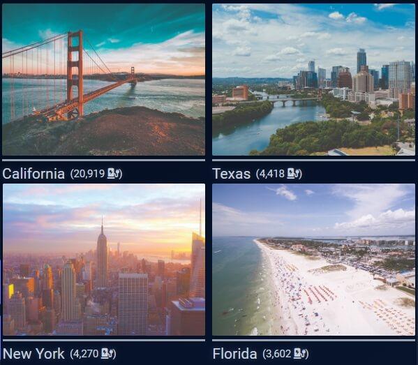 Лучшие четыре штата в США по количеству зарядных точек