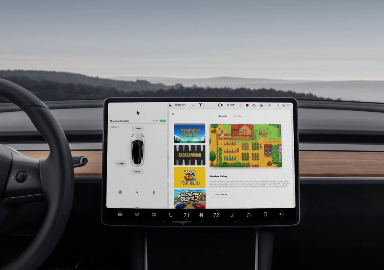 Игры в приложении Tesla Arcade