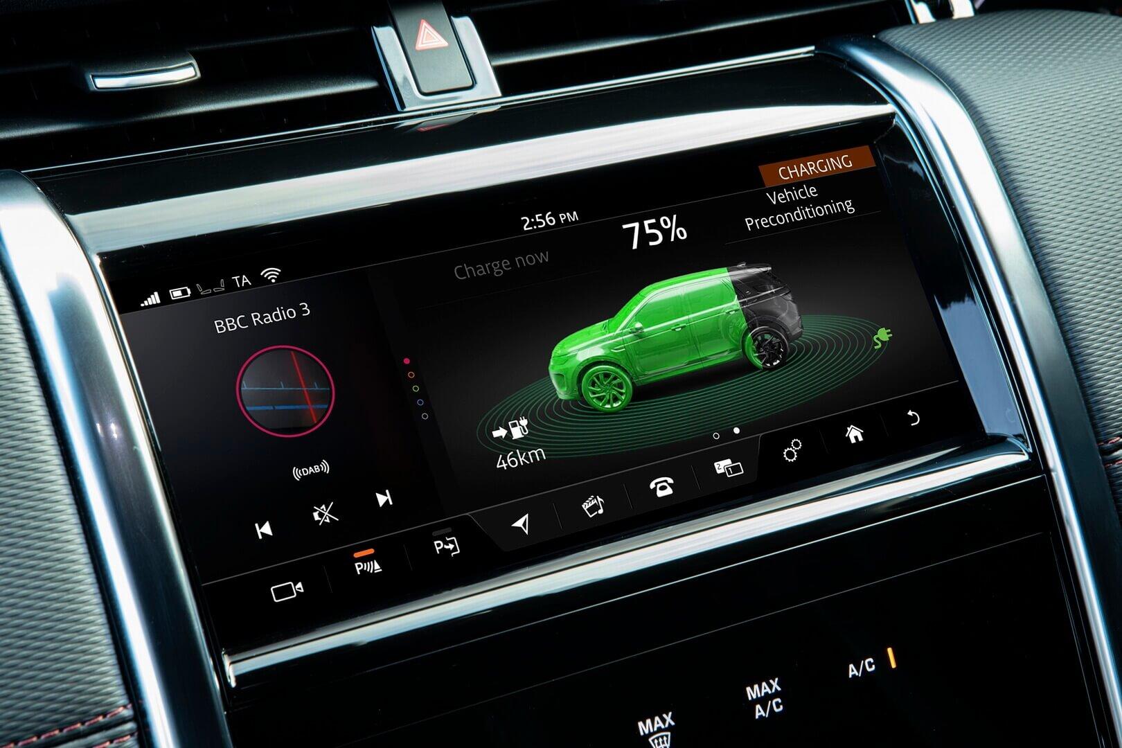 Информация о запасе хода Land Rover Discovery Sport P300e