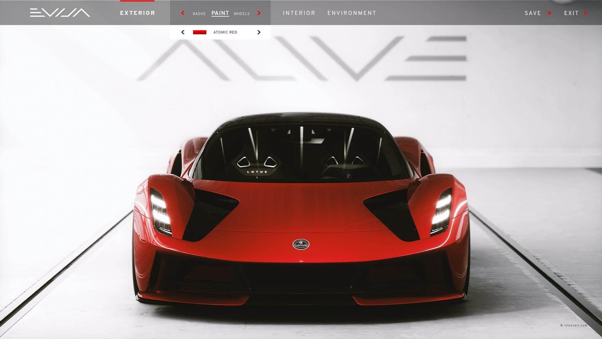 Lotus Evija из онлайн-конфигуратора