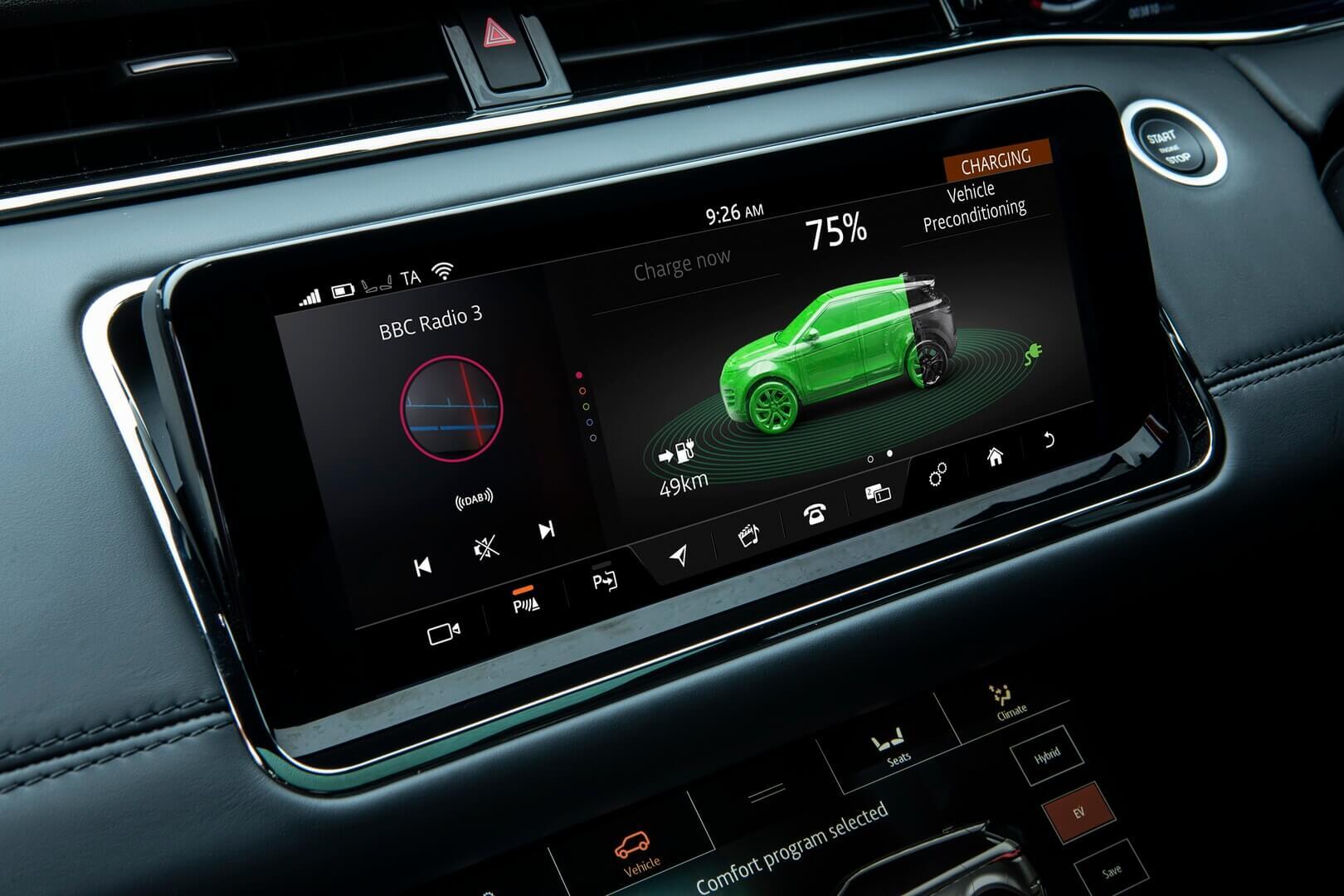 Информация о запасе хода Range Rover Evoque P300e