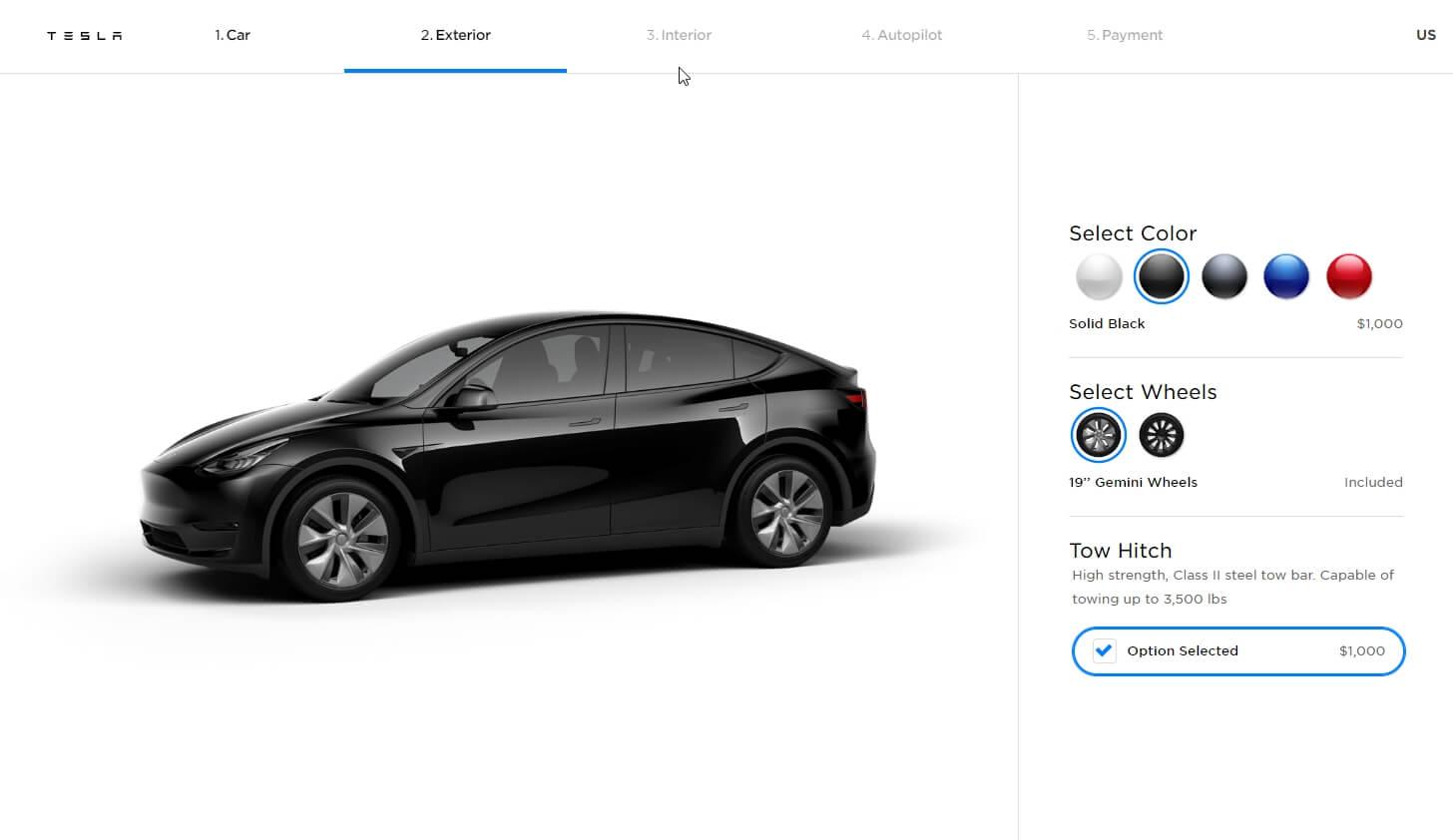 Онлайн-конфигуратор Tesla Model Y