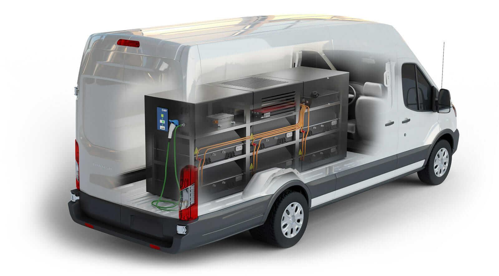 Компания Lightning Systems разработала систему для установки в своем электрофургоне Lightning Electric Transit 350HD