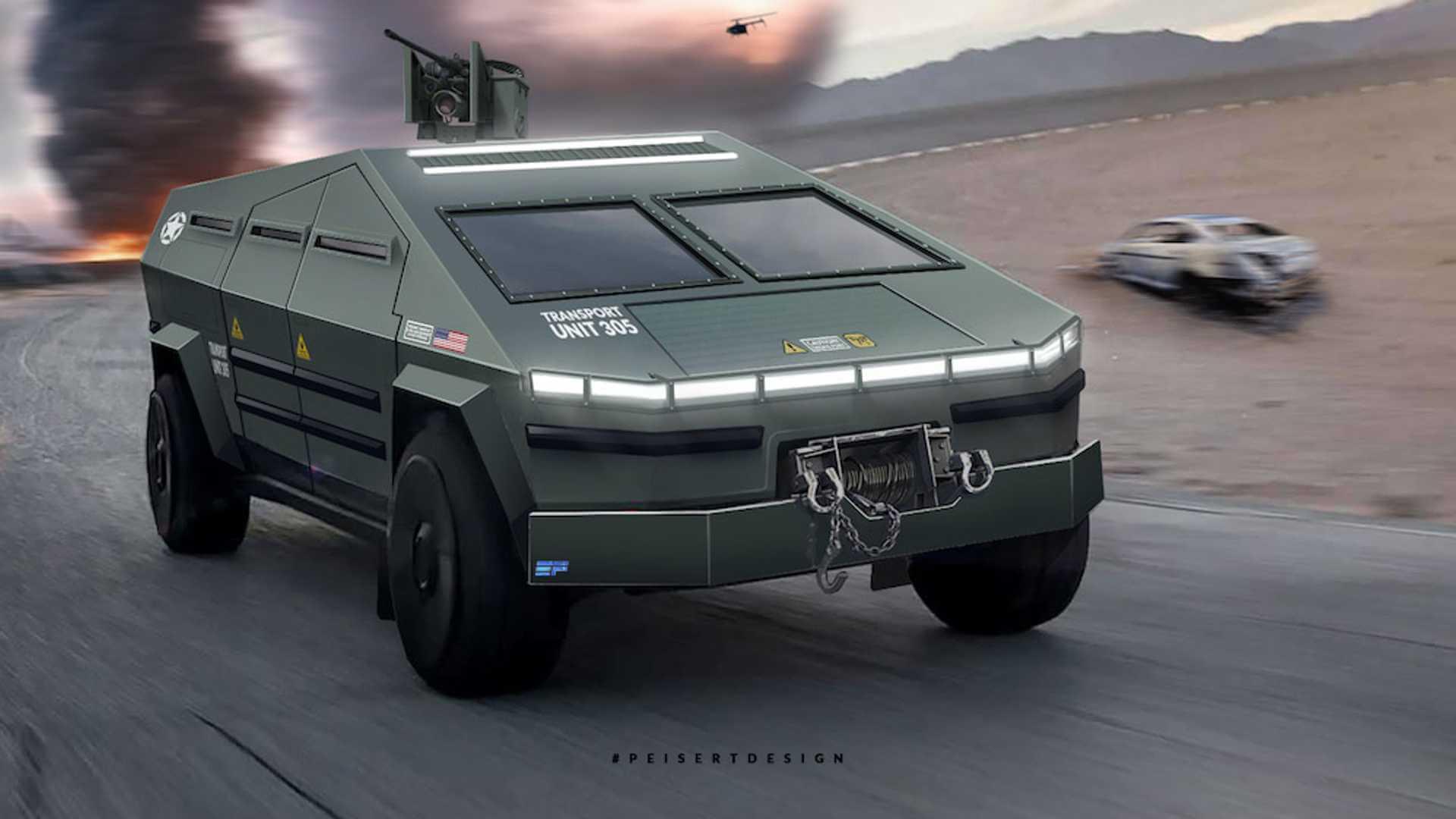Дизайнер представил рендер военного киберпикапа Tesla