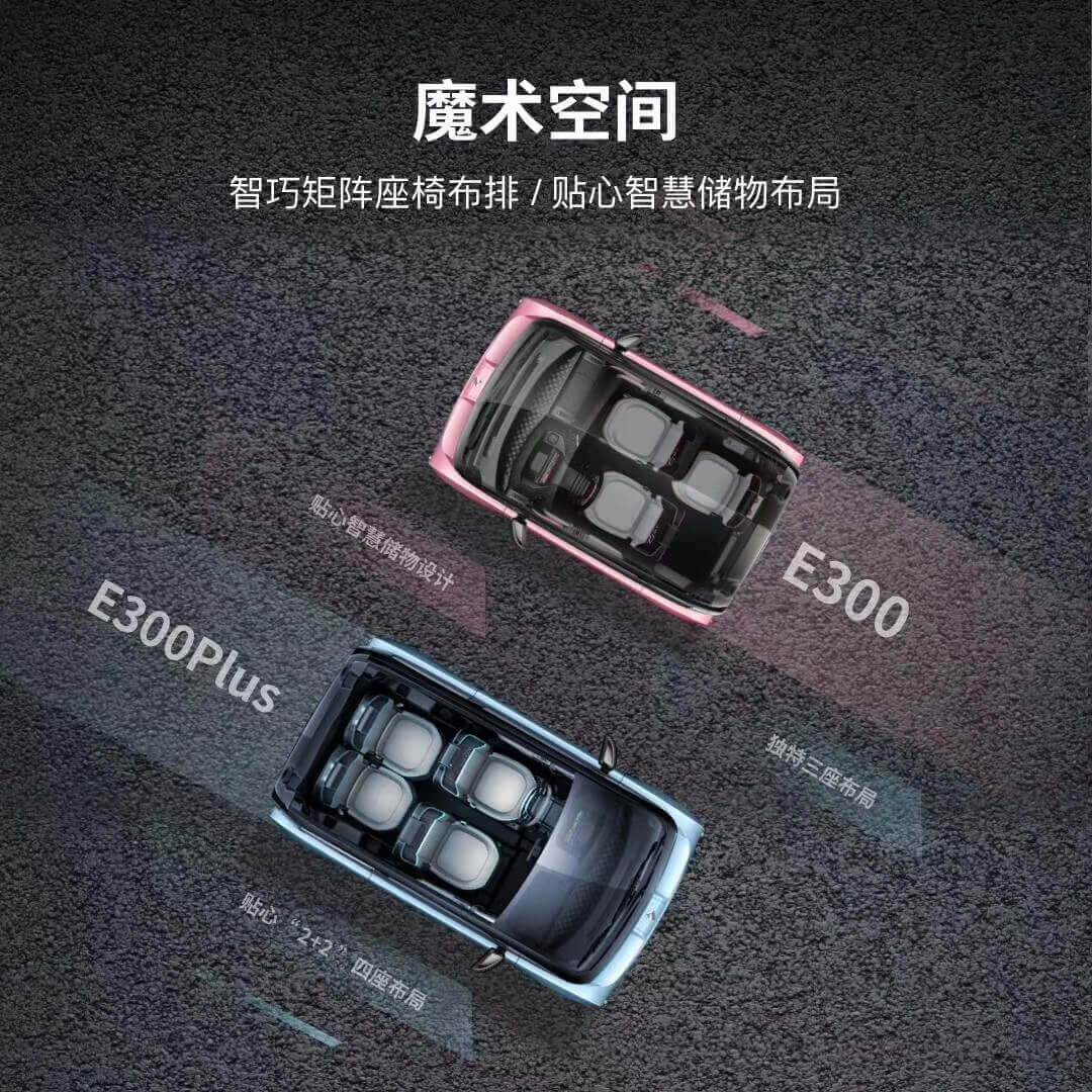 Компоновка сидений в Baojun E300 иE300 Plus