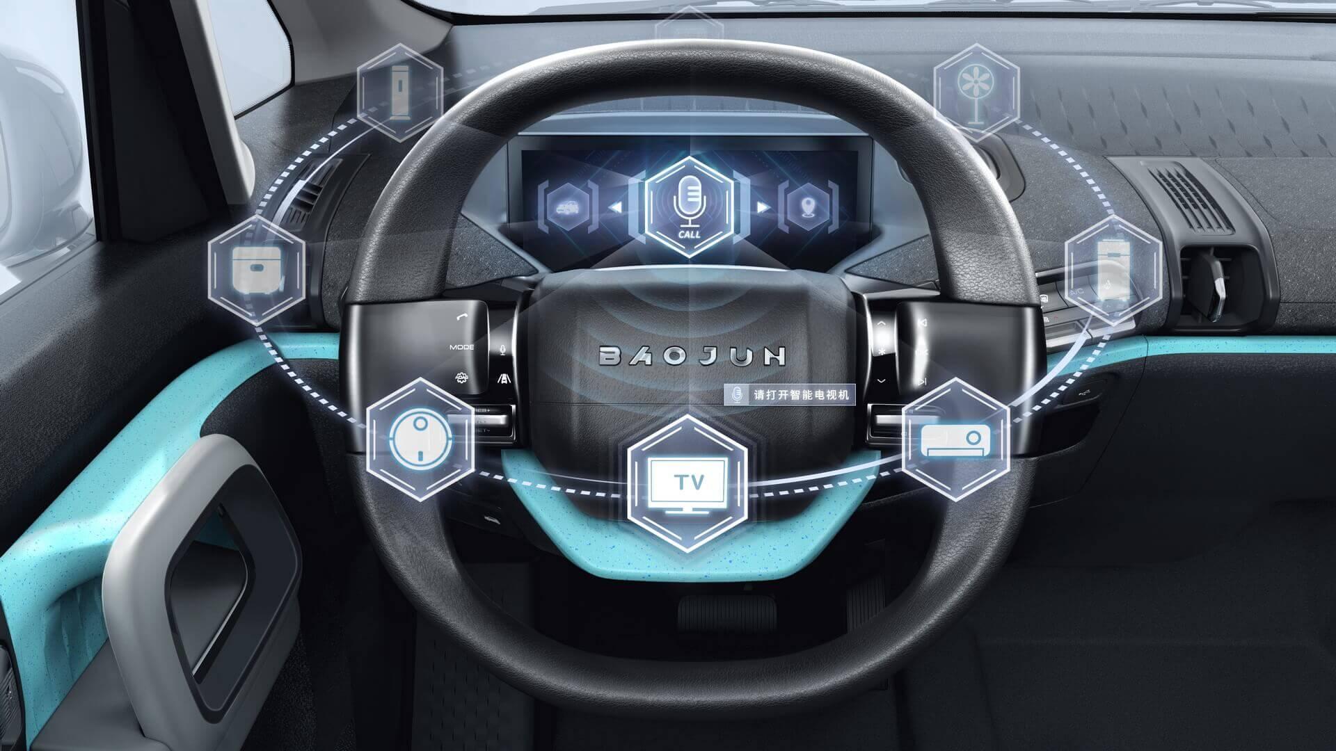 Многофункциональное рулевое колесо с сенсорным экраном в Baojun E300