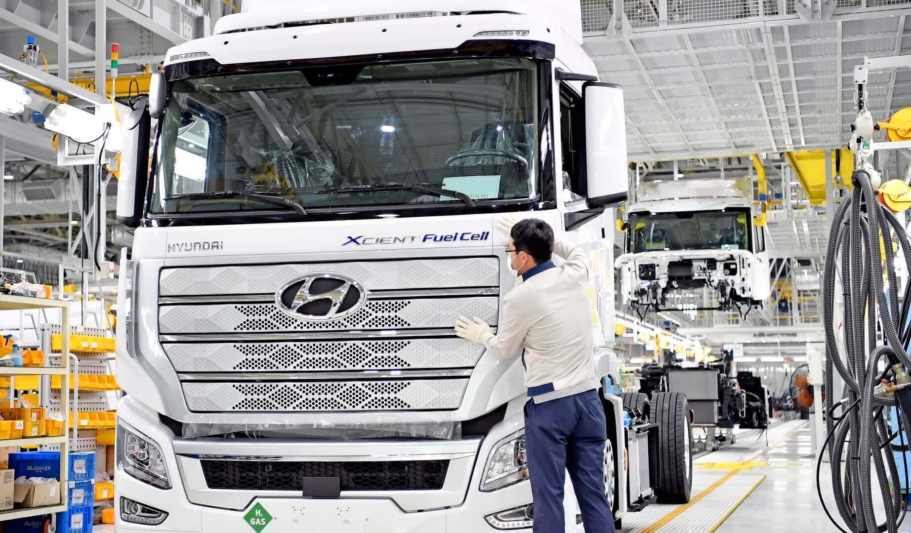 Производство грузовика Hyundai XCIENT Fuel Cell