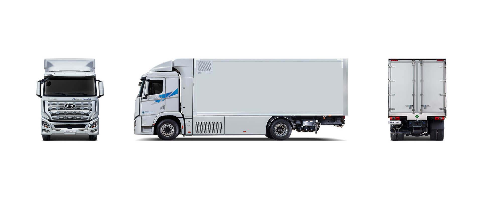 Размеры Hyundai XCIENT Fuel Cell: колесная база 5 130 мм, длина 9 745 мм, ширина 2 515 мм, высота 3 730 мм