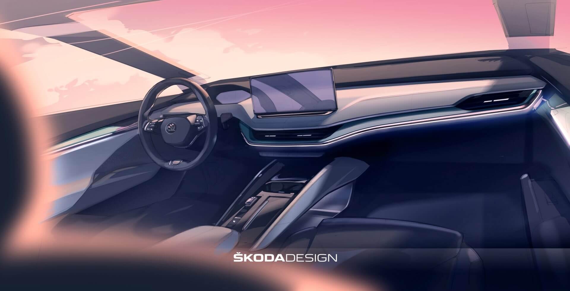 Интерьер электрического кроссовера Skoda ENYAQ iV