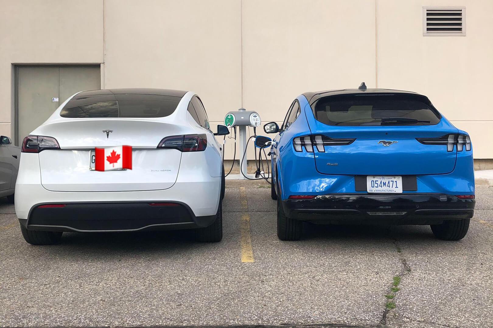 Tesla Model Y и Ford Mustang Mach-E на зарядке