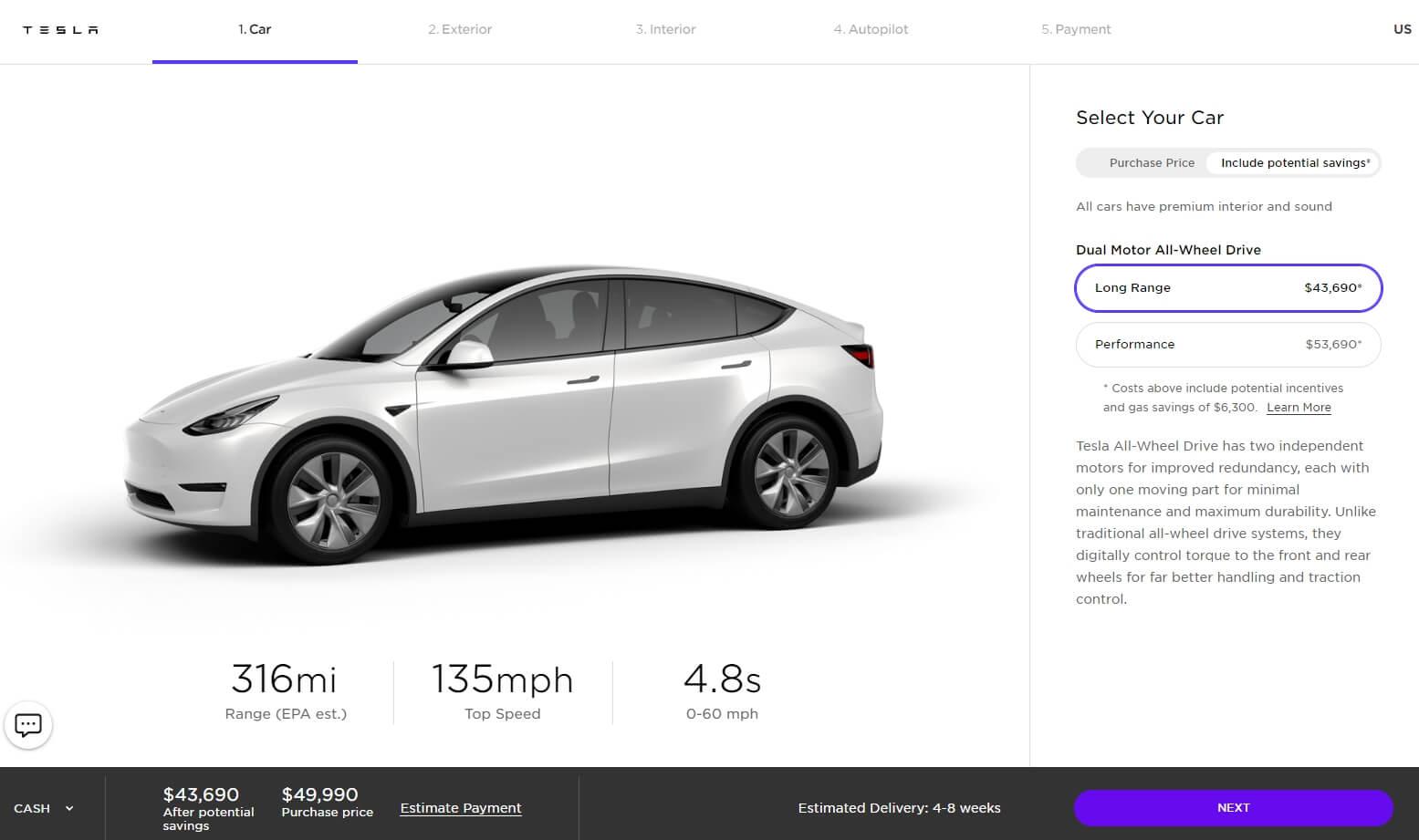 Стоимость Model Y на веб-сайте Tesla в США