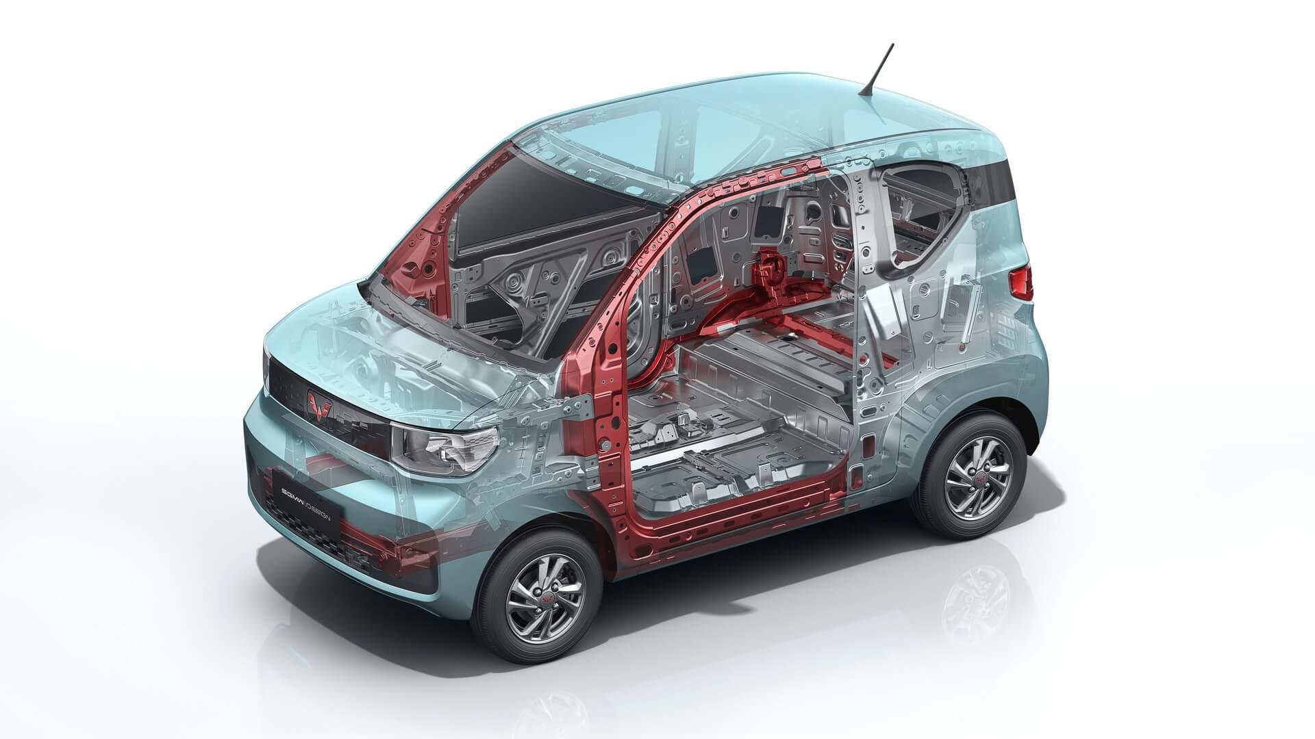 Более57% кузова Hong Guang MINI EVсостоит извысокопрочной стали