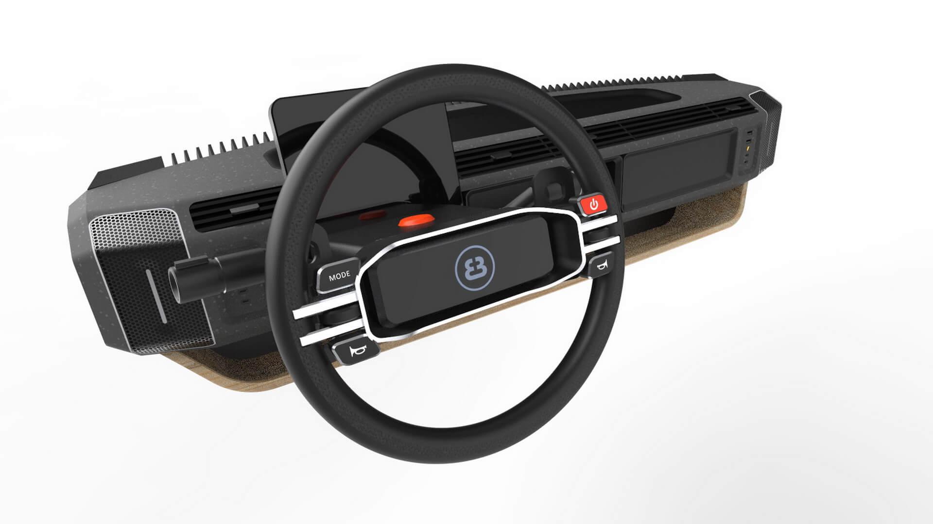 Руль и педали можно переставлять на правую сторону, левую и даже по центру
