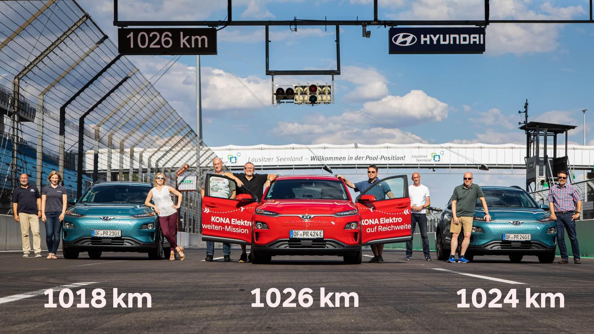 3 модели Hyundai Kona Electric установили рекорд запаса хода