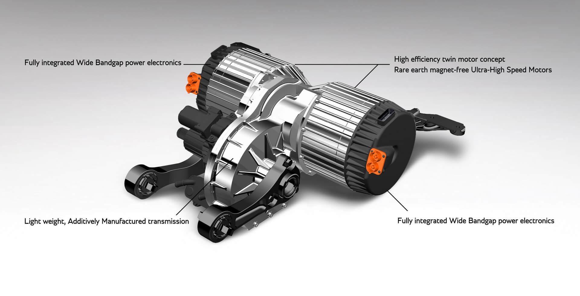 Силовой агрегат OCTOPUS E-axle включает 2 электромотора, трансмиссию и силовую электронику
