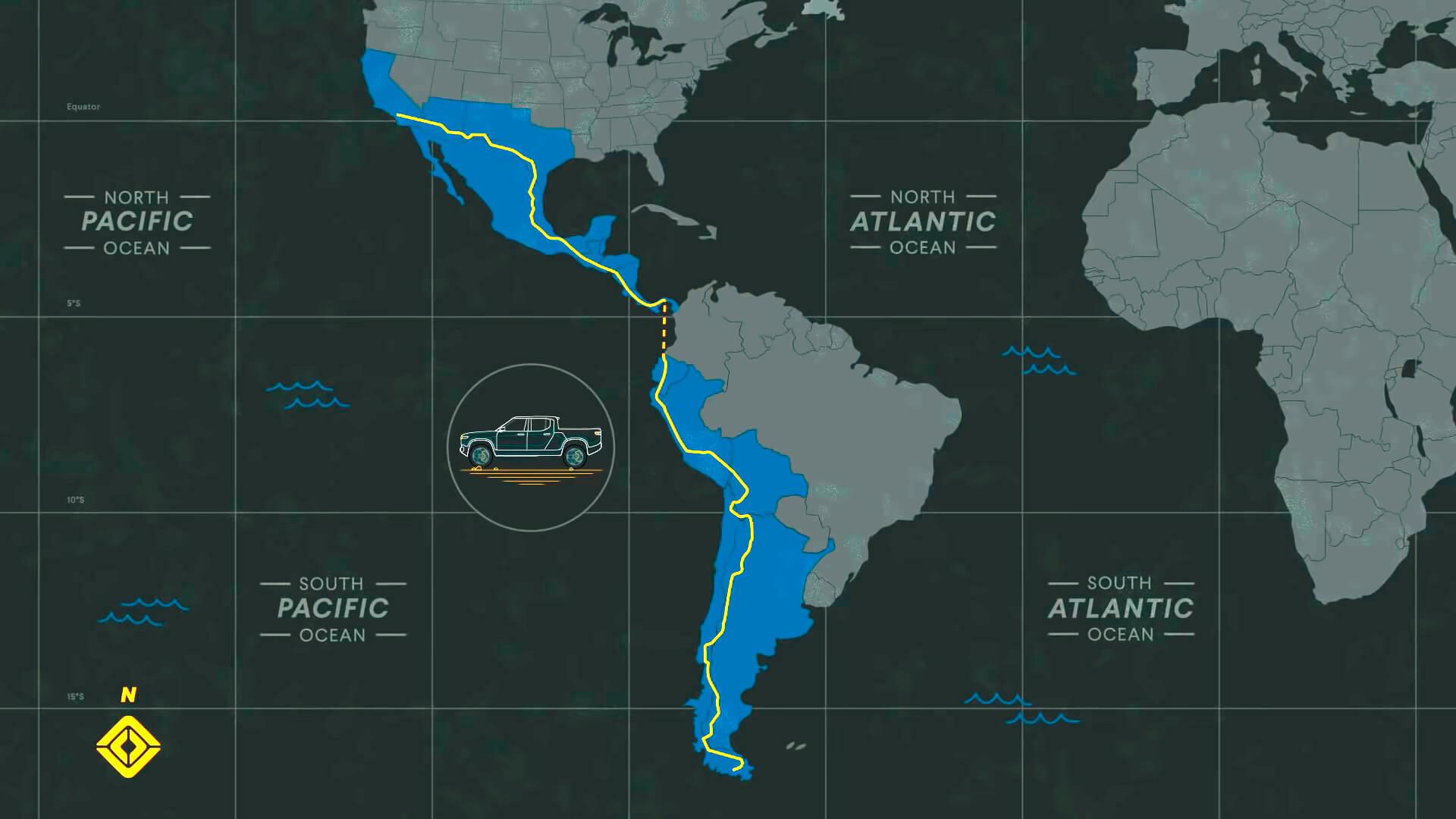 Маршрут 100-дневного путешествия Rivian R1T через 13стран