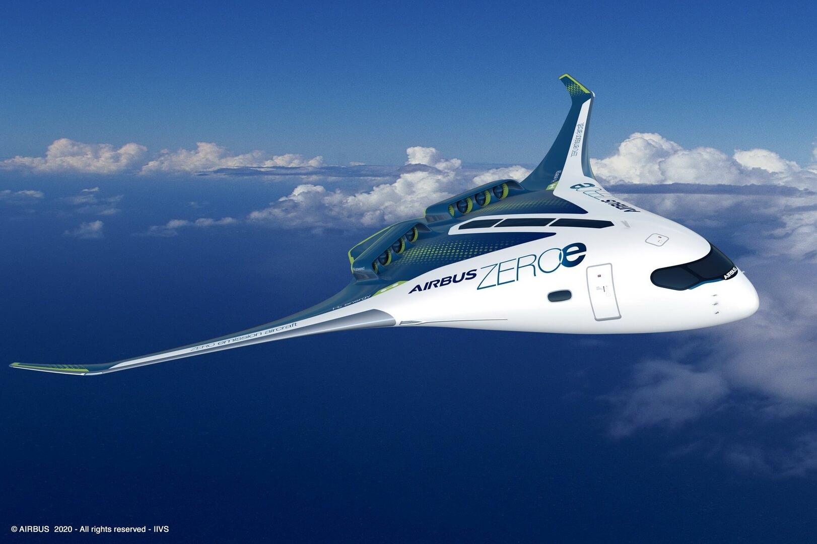 Концепт водородного самолета Airbus ZEROe «со смешанным крылом» вместимостью до200пассажиров
