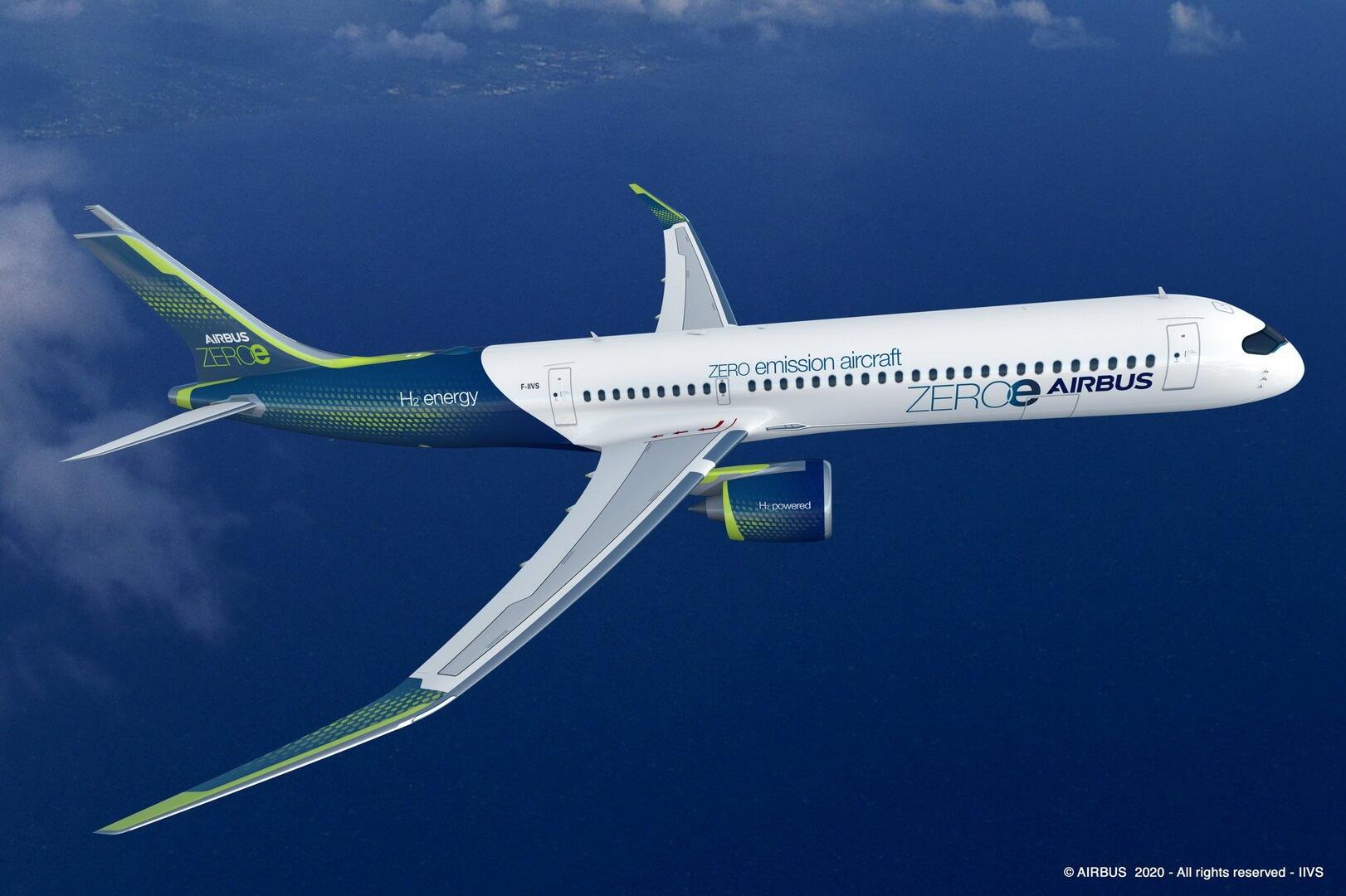 Концепт водородного самолета Airbus ZEROe с турбовентиляторным двигателем на 120-200 пассажиров