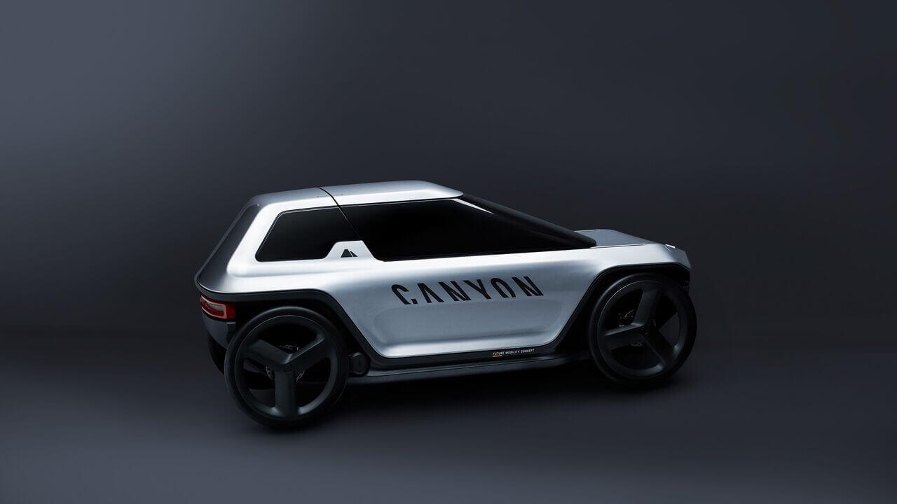Педальный автомобиль Canyon будет приводиться в движение электродвигателями, питаемыми от аккумуляторов, которые может заряжать водитель, крутя педали
