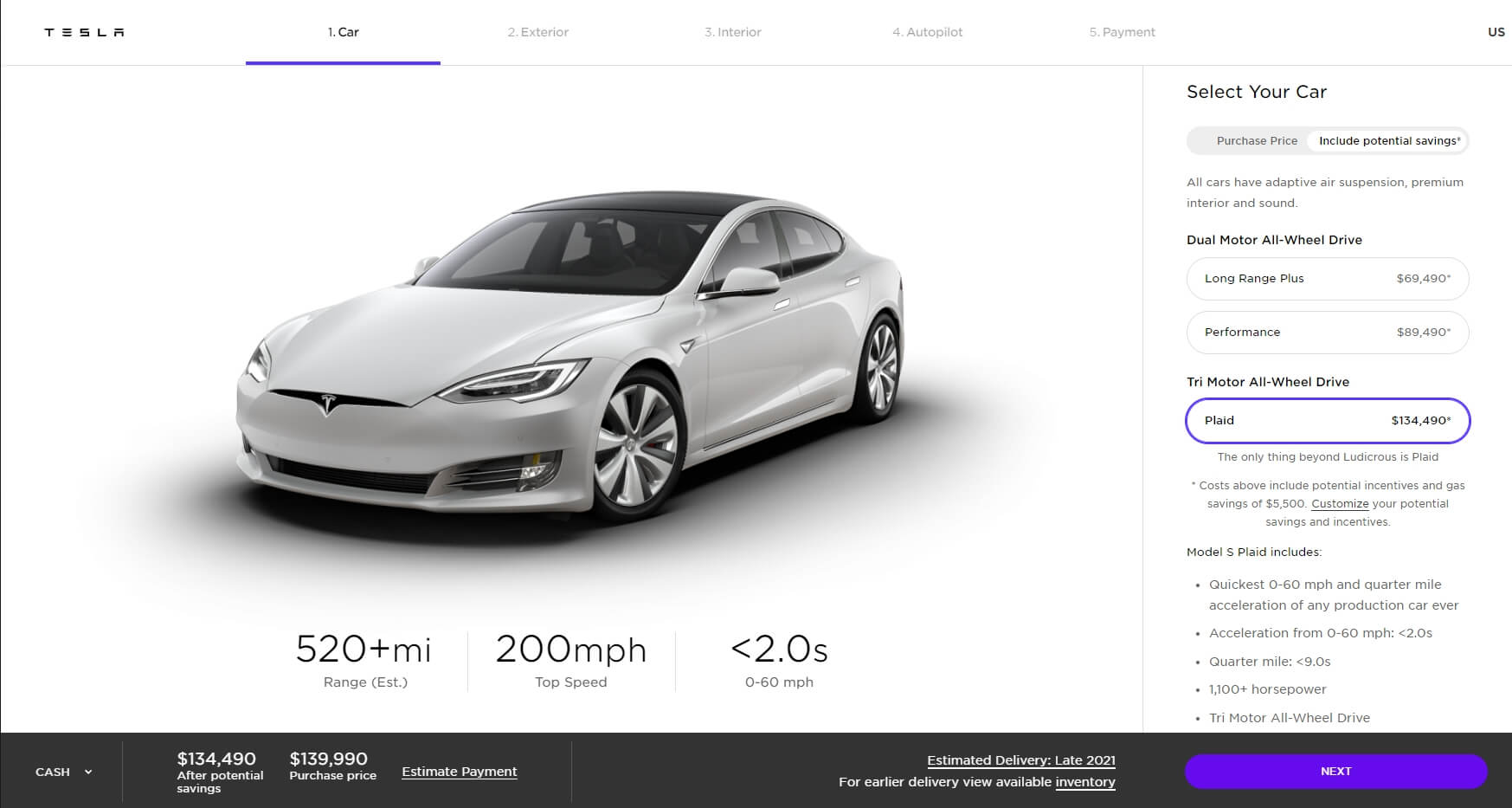 Model S Plaid уже доступна для заказа на веб-сайте Tesla