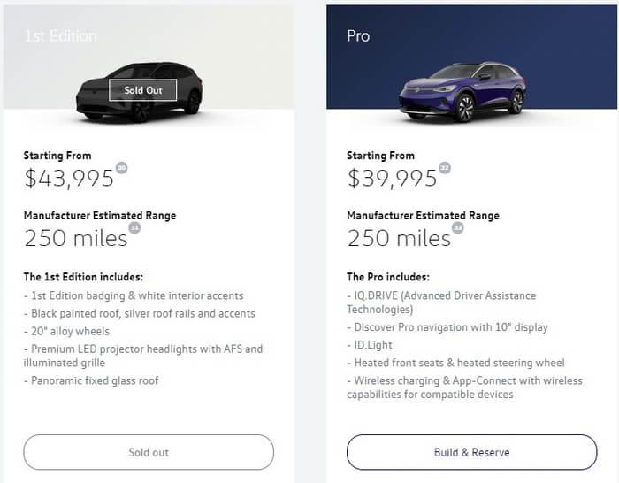 Американцы раскупили версию VW ID.4 1st Edition за 8 часов