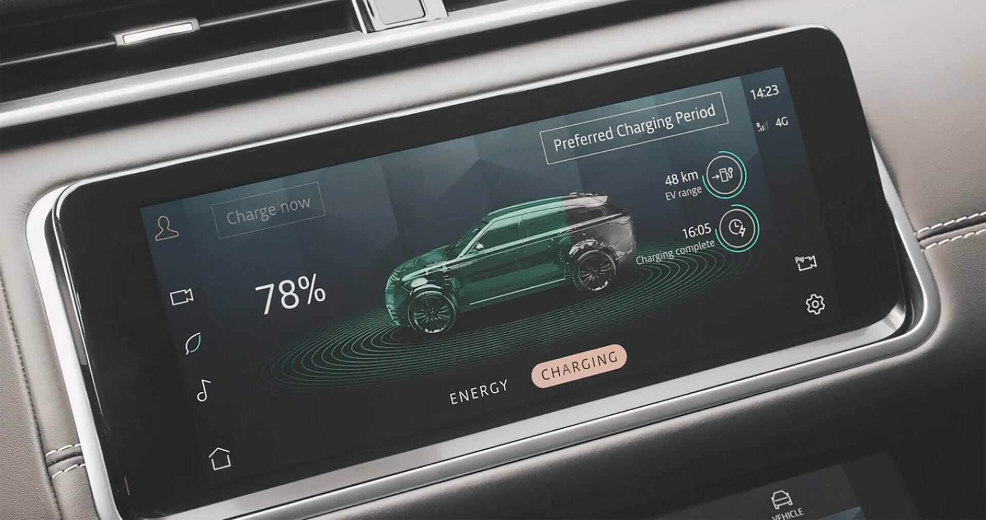 Показатель зарядки Range Rover Velar P400e