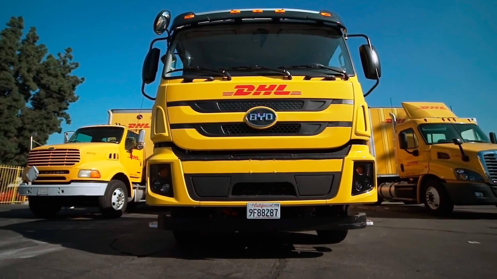 DHL выводит на маршрут в США 4 новых электрогрузовика BYD класса 8