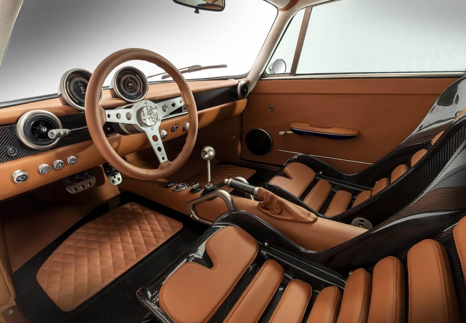 Интерьер ретро-электрокара Alfa Romeo GTElectric