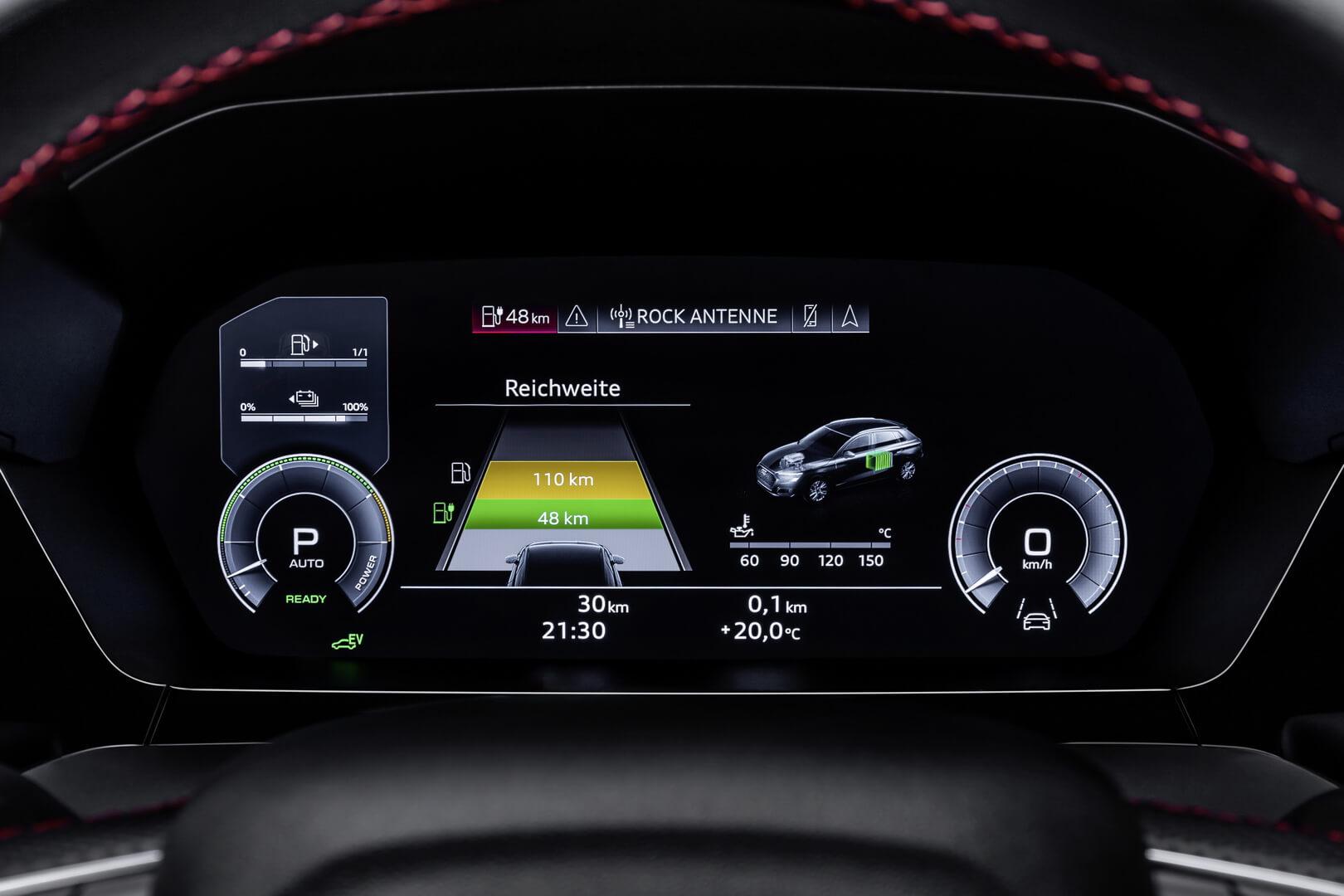 Информация о запасе хода на приборной панели Audi A3 Sportback 45 TFSI e