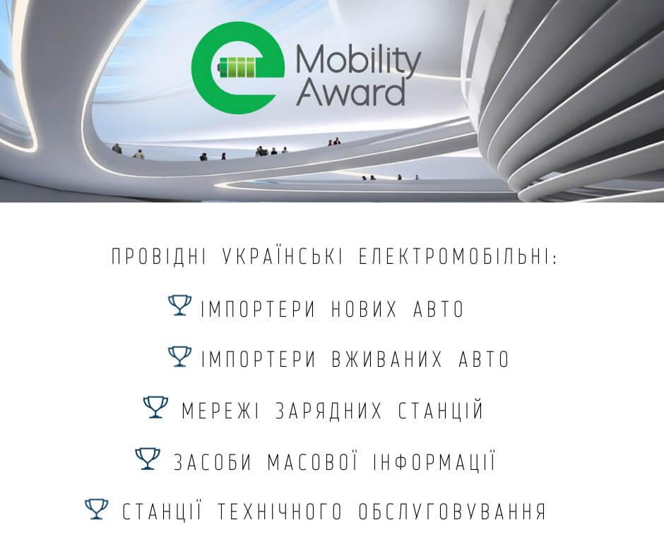 Шорт-лист номинантов первой электромобильной премии Украины e-Mobility Award 2020