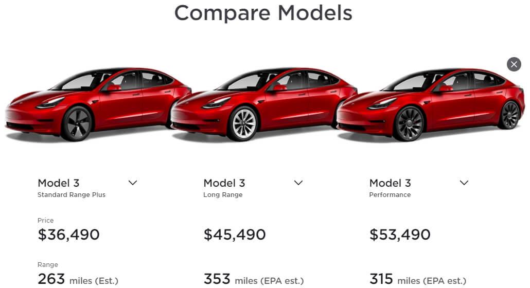 Сравнение всех версий Model 3 на официальном сайте компании Tesla