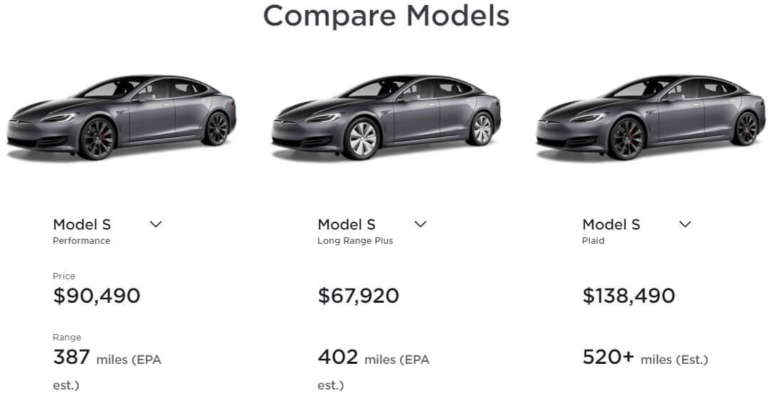 Сравнение всех версий Model S на официальном сайте компании Tesla