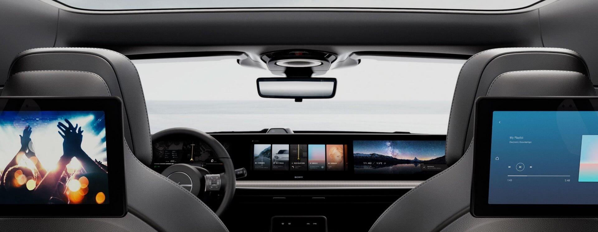 Широкоформатный экран, охватывающий всю приборную панель концепта Sony VISION-S