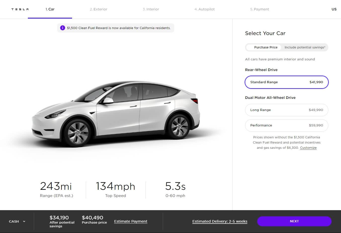 Tesla выпустила базовую версию Model Y с задним приводом