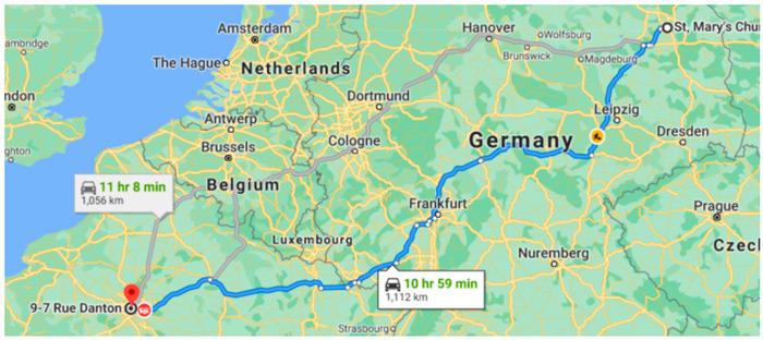 Самый быстрый маршрут из Берлина в Париж для бензинового автомобиля