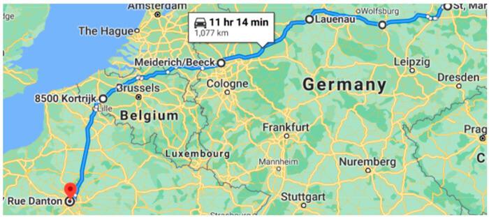 Оптимальный маршрут для электромобиля с запасом хода 400 км (время в пути указано без учета времени зарядки)