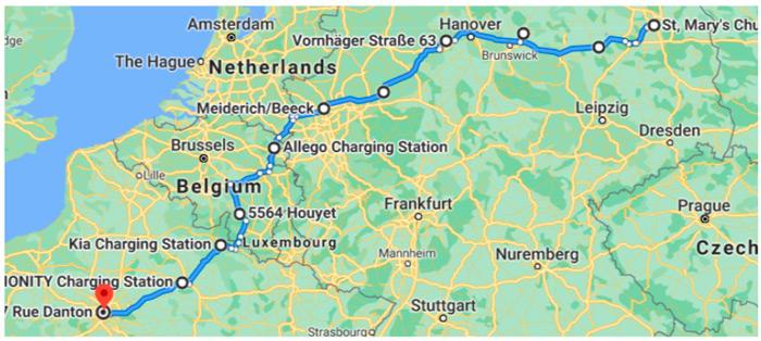 Оптимальный маршрут для электромобиля с запасом хода 200 км