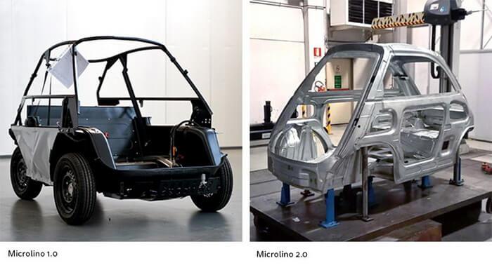 Конструкция Microlino 1.0 и Microlino 2.0