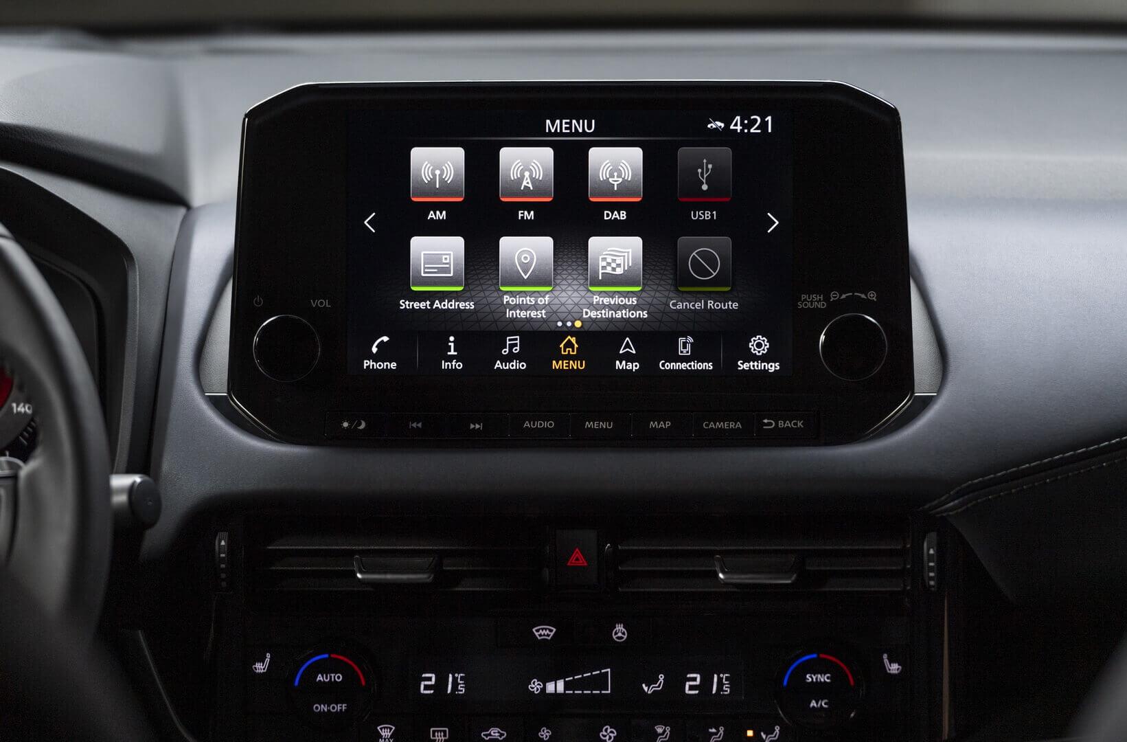 Мультимедийная система Nissan Qashqai 2021 года