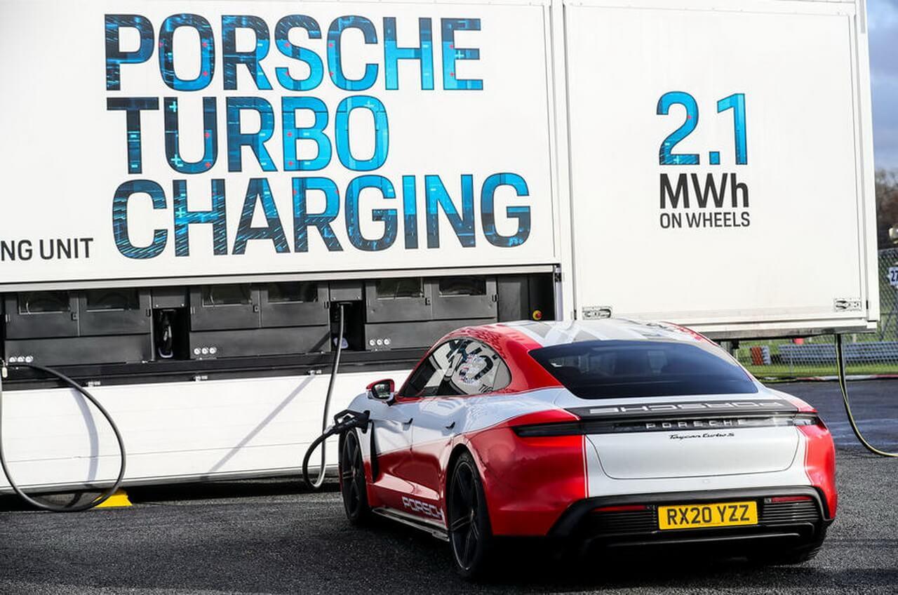 Зарядка Porsche Taycan от мобильной зарядной системы на 2,1 МВт⋅ч