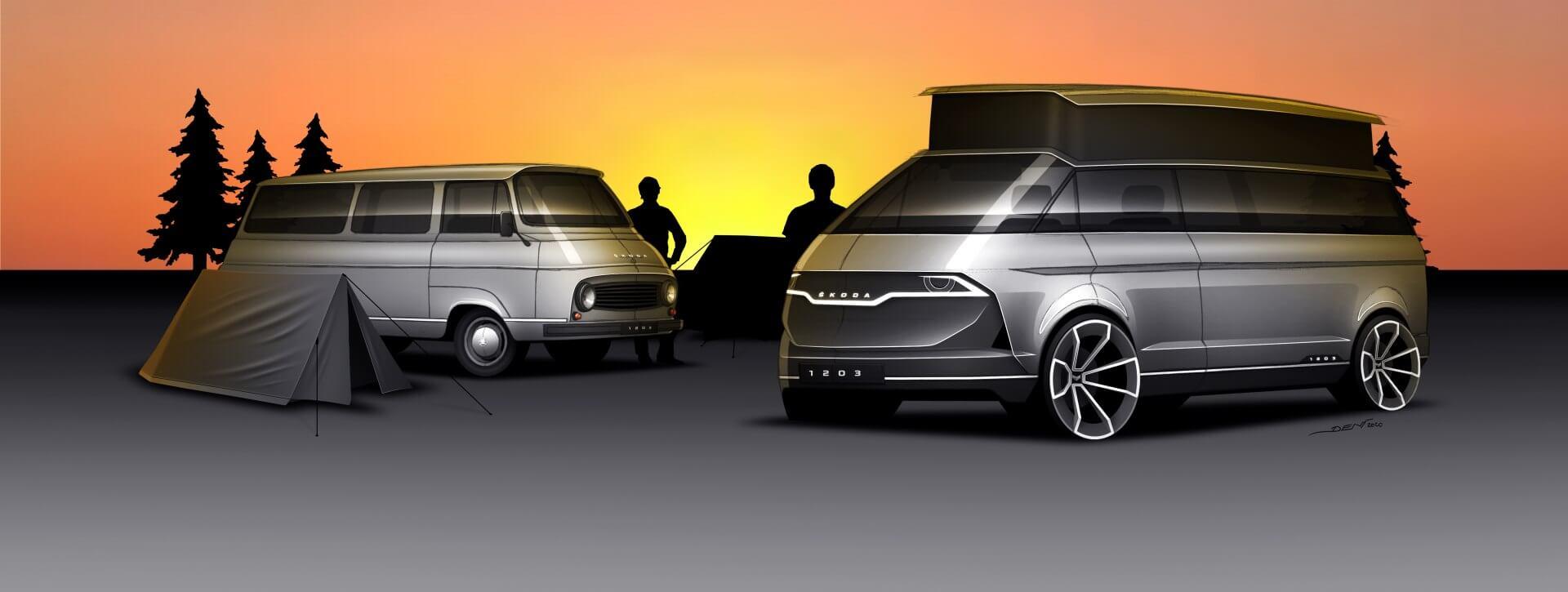 Skoda представила современный концепт ретро-фургона 1203