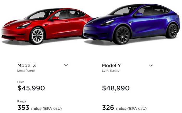 Цены на Model Y/3 Long Range AWD в США