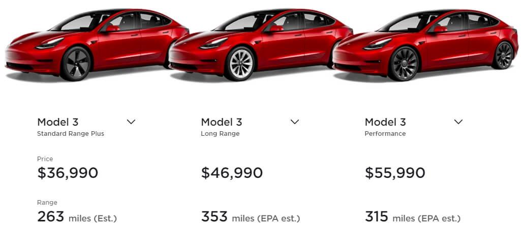Цены на Tesla Model 3 в США