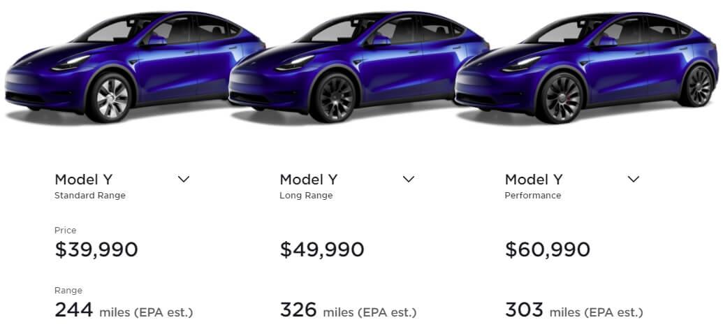 Цены на Tesla Model Y в США