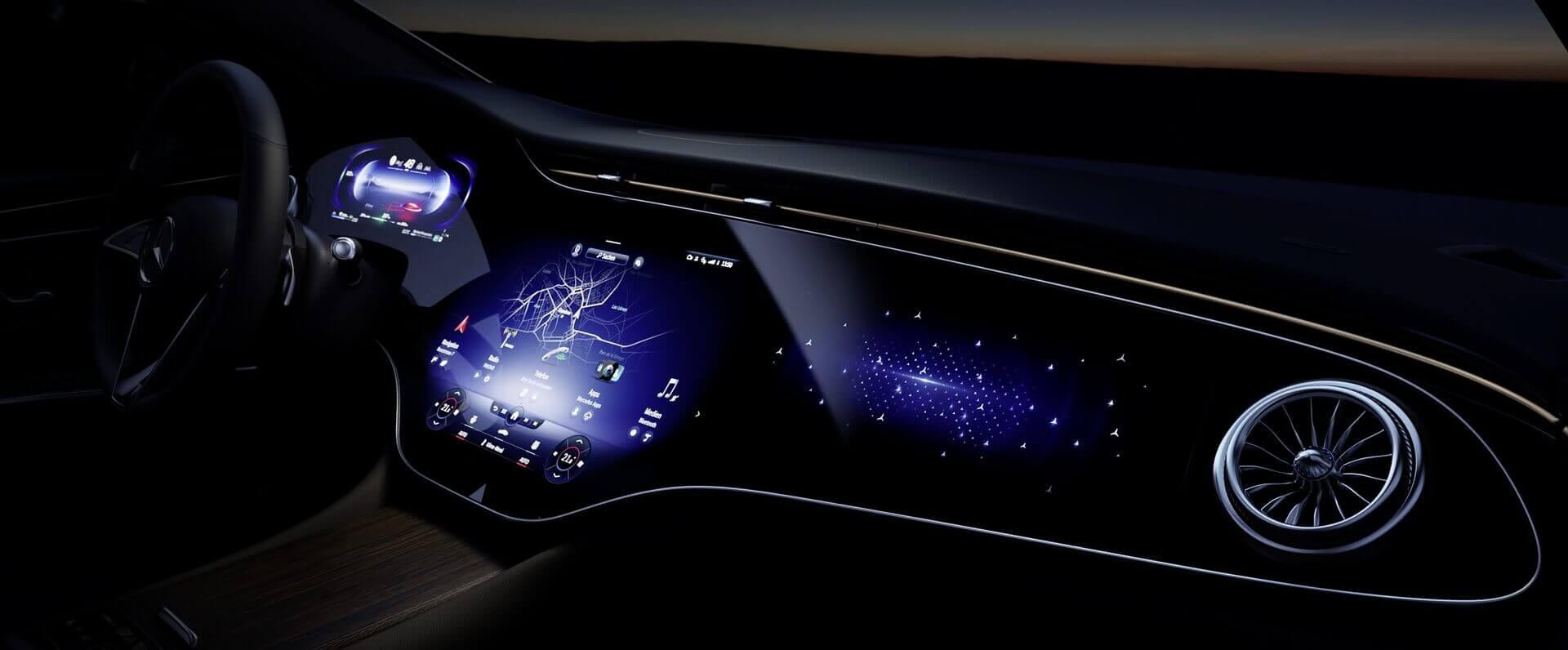 56-дюймовый «гиперэкран» Mercedes-Benz EQS с искусственным интеллектом