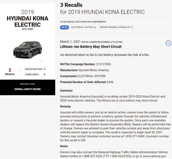 NHTSA советует владельцам Hyundai Kona Electric парковаться подальше от домов и других строений