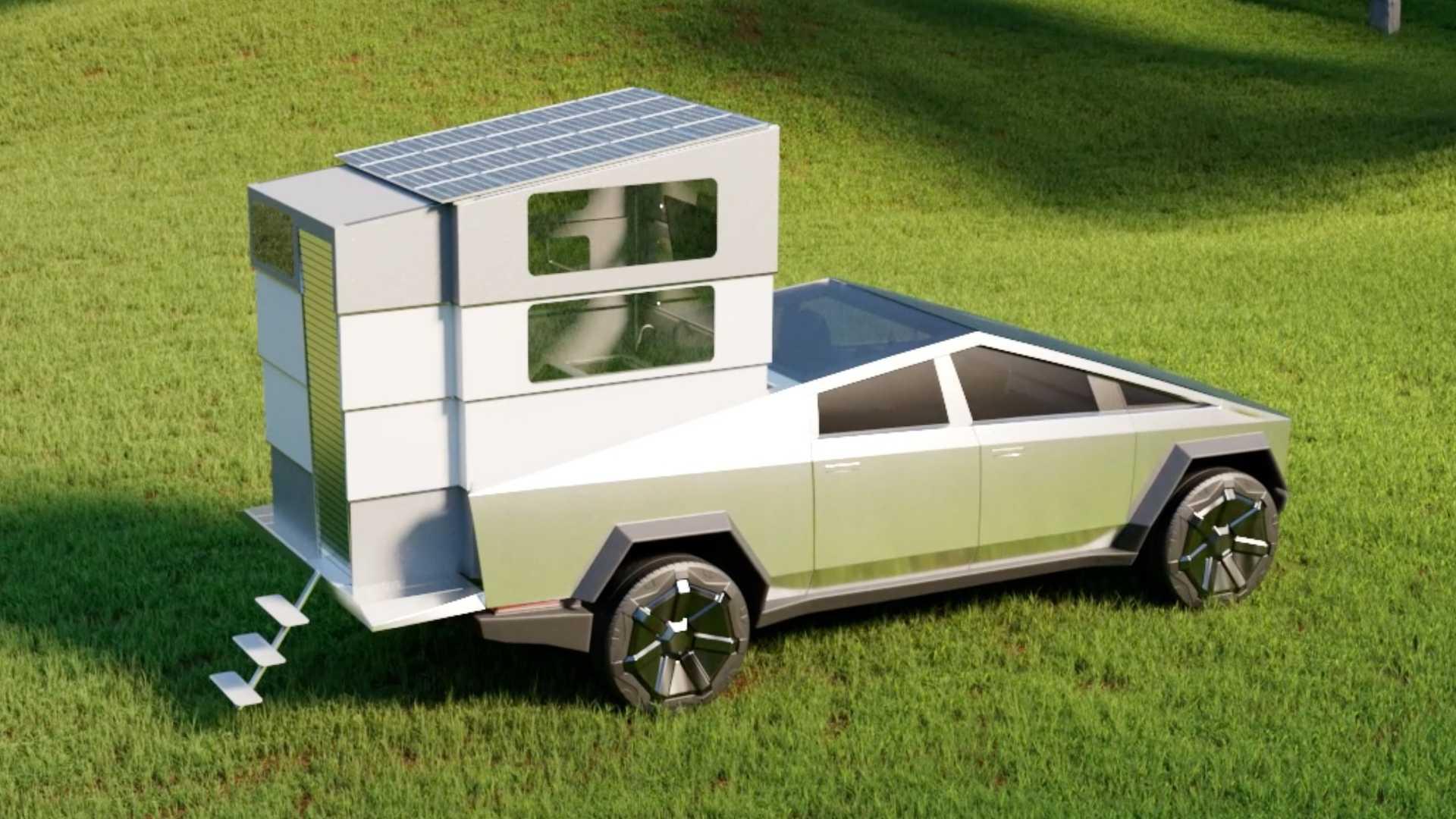 CyberLandr: кемпер для Tesla Cybertruck с кроватью, кухней и душем