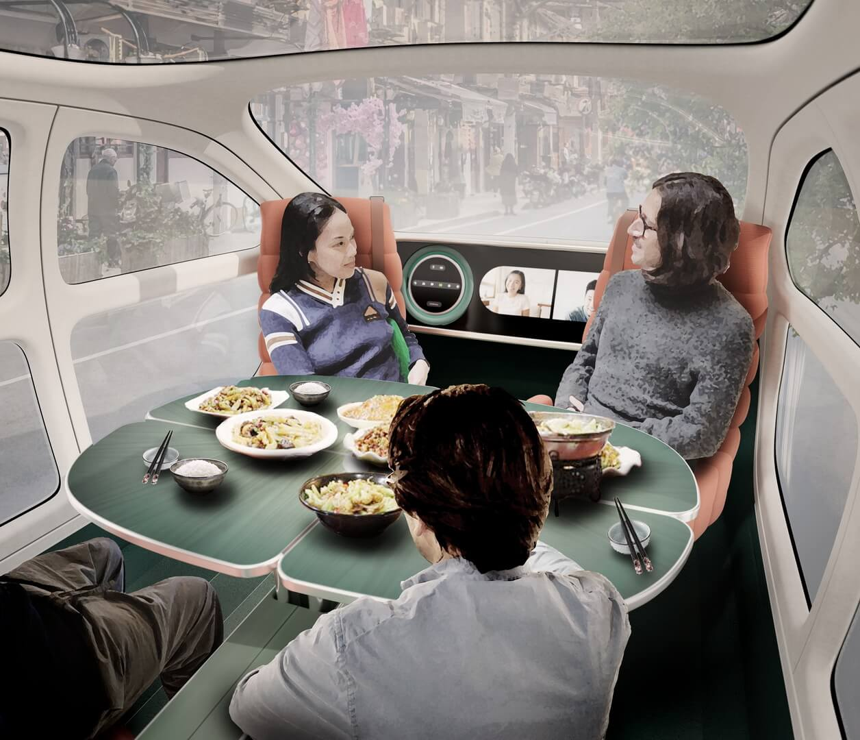 Автомобиль был разработан с гибким интерьером с вращающимися сиденьями, чтобы его можно было преобразовать в «многофункциональную комнату»